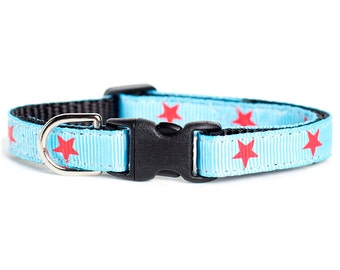 "Cat Collar - ""The All American"" - Red Stars on Blue"