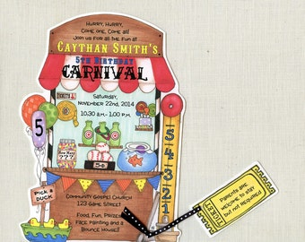 Personalized and Handcut Invitations - Birthday Party Invitations - Carnival Birthday - Circus - Carnival - Festival - Set of 25