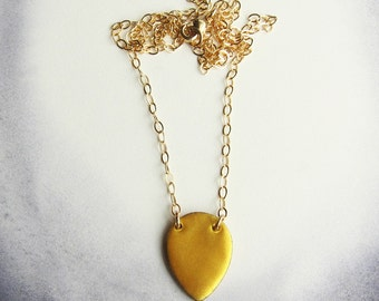 Long gold teardrop necklace Layering jewelry Gold pendant Gold layering necklace Enamel jewelry