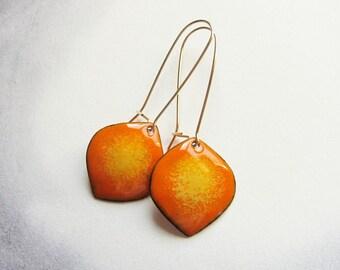 Orange drop earrings Enamel dangle earrings Gold kidney wires Colorful enamel jewelry