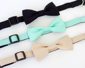 10 colors to choose from, polka dot dog bow tie collar set, cat collar, pet wedding, dog wedding, dog bow tie collar, cat bow tie collar