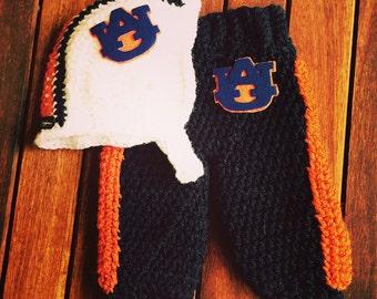 Newborn baby Auburn Tigers football helmet pant set