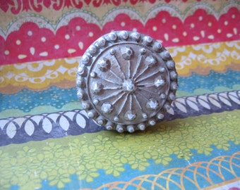 2 Bohemian Silver and White Knobs Textured with Raised Design for your Drawers Cabinets Boho Indie Tribal Round Knobs with an Attitude B-27
