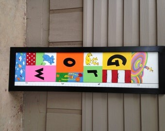 """Dr. Suess Growth Chart """"grow""""---Hand Painted Framed Wooden Growth Chart"""
