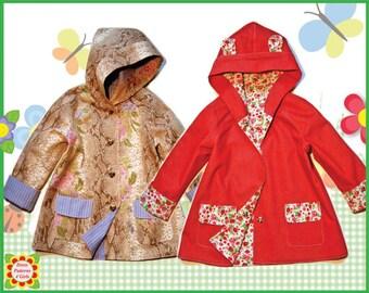Hooded Coat Sewing Pattern Children + Free Mother-Daughter Apron Pattern, Girls Coat PATTERN, 18m-10y, Baby, Toddler pdf Patterns, handmade
