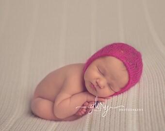 Newborn mohair Lacey bonnet with leg warmers. Newborn photo prop