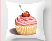 Pink Cupcake with Cherry pillow cushion watercolour illustration by Maine artist Patricia Shea