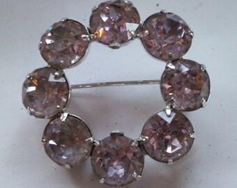 Pink stone Eisenberg brooch