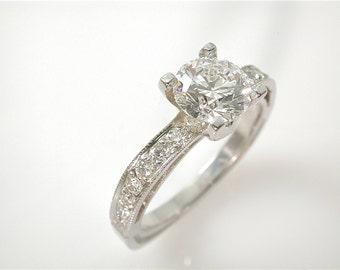 Round Diamond Engagement Ring, 1 Carat Minimalist Engagement Ring GIA Certified Diamond, Simple Diamond Ring, Diamond Jewelry, Conflict Free
