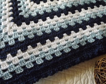 Large Crocheted Classic Style Granny Square Blanket Throw Navy Blue, Baby Blue and White