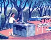 Australian BBQ lunch outdoors, mid century illustration by Sasek, life in Australia