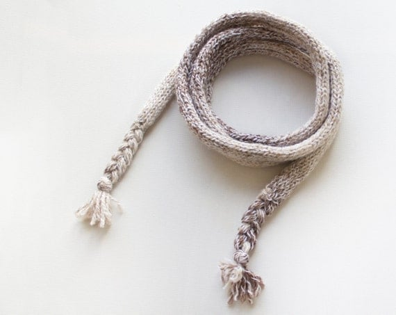 Coconut Chunky Spaghetti Scarf - Thin White Scarf - Cute Stocking Filler Scarf