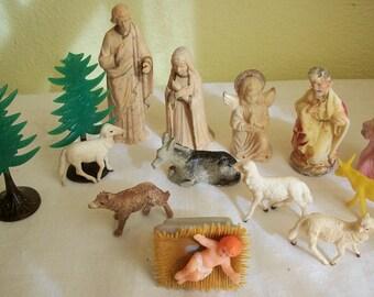 Vintage Wonderful 14 Piece Nativity Characters Set Trees Animals Jesus Mary