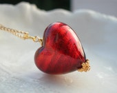 Red Heart Necklace - Venetian Murano Glass