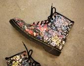RESERVED FOR ELVIRA Vintage Doc Marten Floral Boots / size 10 Dr. Marten Flower Boots / 90s Grunge Boots