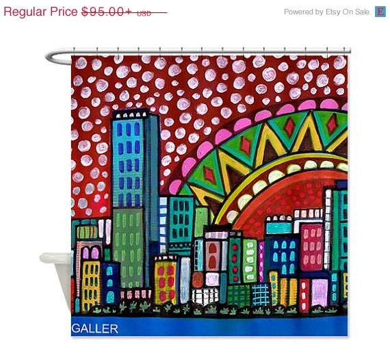 On Sale Miami Shower Curtain Kid Or Adult Shower Curtains Abstract Colorful Florida City