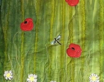 Art pillow Flower field Dragonflies and Dasies appliqué