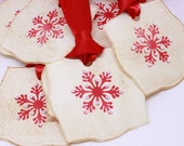 Christmas Tags (Double Layered) - Nordic Snowflake Gift Tags - Handmade Gift Tags- Vintage Inspired Christmas Hang Tags - Set of 8