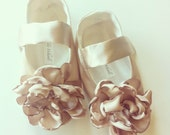 Champagne Gold Satin Flower Girl Shoes, Baby Girl Shoes, Toddler Girl Shoes