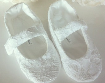 Lace Flower Girl Shoes White Sparkle  - Baby and Toddler Girl - Christening Shoes