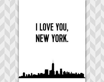 I Love New York City Skyline Art Print, Typographic, New Yorker Gift