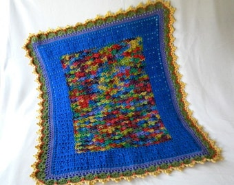 Crochet Baby Blanket Boy or Girl Sweet Dreams Toddler Naptime Crib Blanket in Blue Green and Antique Yellow