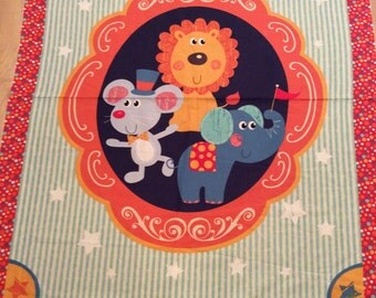 An Adorable Circus Animals A Day At The Circus Cotton Fabric Panel Free US Shipping