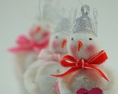 Trio of Christmas Snowmen Ornaments Tiny Work of Art Vintage Inspired