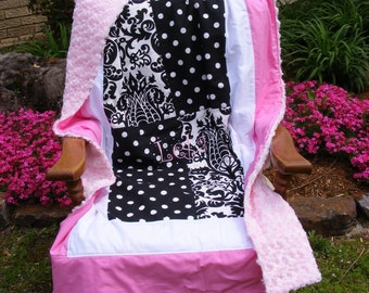 Soft Baby Girl Quilt Light Pink Rosecuddle Large Blanket Black and white Damask and Polka Dot Kona Fabric High Quality Patchwork Beautiful