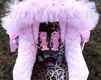 Reupholstered Infant Car Seat Covers Leopard Faux Fur Shoulder Strap  Covers Handle covers Beautiful High Quality Professional Designed pink