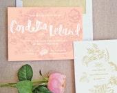 Floral Hand Lettered Wedding Invitation Suite
