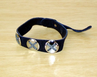 Genuine Flower Child style Navy color Suede Fashion Arm Bracelet from the late 60s