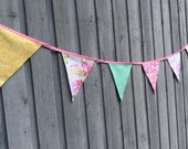 Floral Bunting Flags peach, pink, mint, mustard Fabrics Romantic sweet peony party pennants