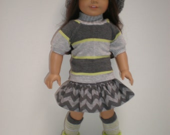 Gray Striped Top, Gray Chevron Ruffled Skirt fits 18 inch doll