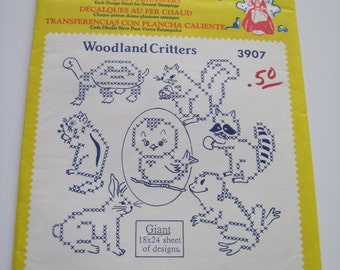 WOODLAND CRITTERS - Aunt Martha's Hot Iron Transfers - 3907 - Never Used