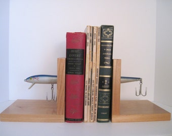 Vintage Upcycled FISHING LURE BOOKENDS - Fishing Decor, Man Cave Decor - Father's Day, Birthday