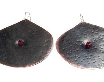 Large Textured Copper Earrings, Ruby Stone, Boho Earrings