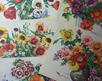 "Floral ART prints -  Jo Roelofs artist - Tulips Wisteria Black Eye Susan - 5 prints - flower bouquets - 8"" x 6""  - printed in Holland"