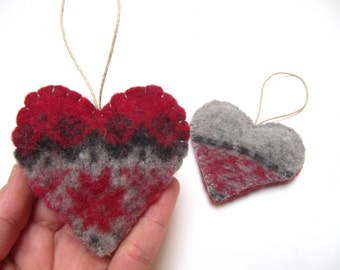 Wool Ornament, Duo of Hearts Up-cycled Ornament, Hearts Ornament, Heart Wedding Favor, Valentines Hearts Ornament