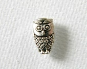 20 Owl Beads Tibetan Silver 10mm Double Sided
