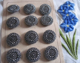 Card of Czech Black Glass and Silver Antique Buttons