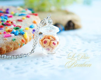Strawberry jam cookies in a Jar Necklace