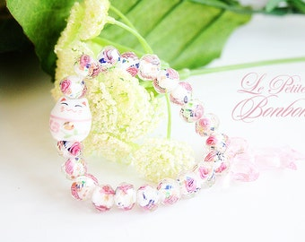 Candy Arm party lucky cat pink flower beaded elastic bracelet