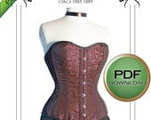 "Pdf Instand download Victorian Corset Sewing Pattern long line 1880's Small 20"" 22"" 24"" waist"