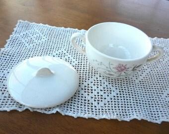 Vintage Steubenville Pottery  Rose Sugar Bowl and Lid