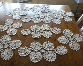 Vintage Group of  9 Hand Crocheted Doily Units for Completion