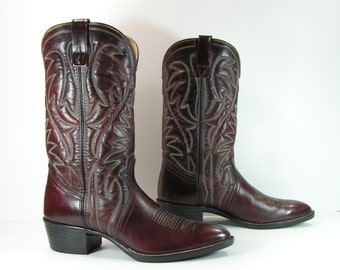 vintage cowboy boots mens 9.5 d dark brown western leather made in u.s.a. usa