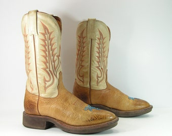 tony lama cowboy boots women's 6.5 M B brown crepe sole leather cowgirl