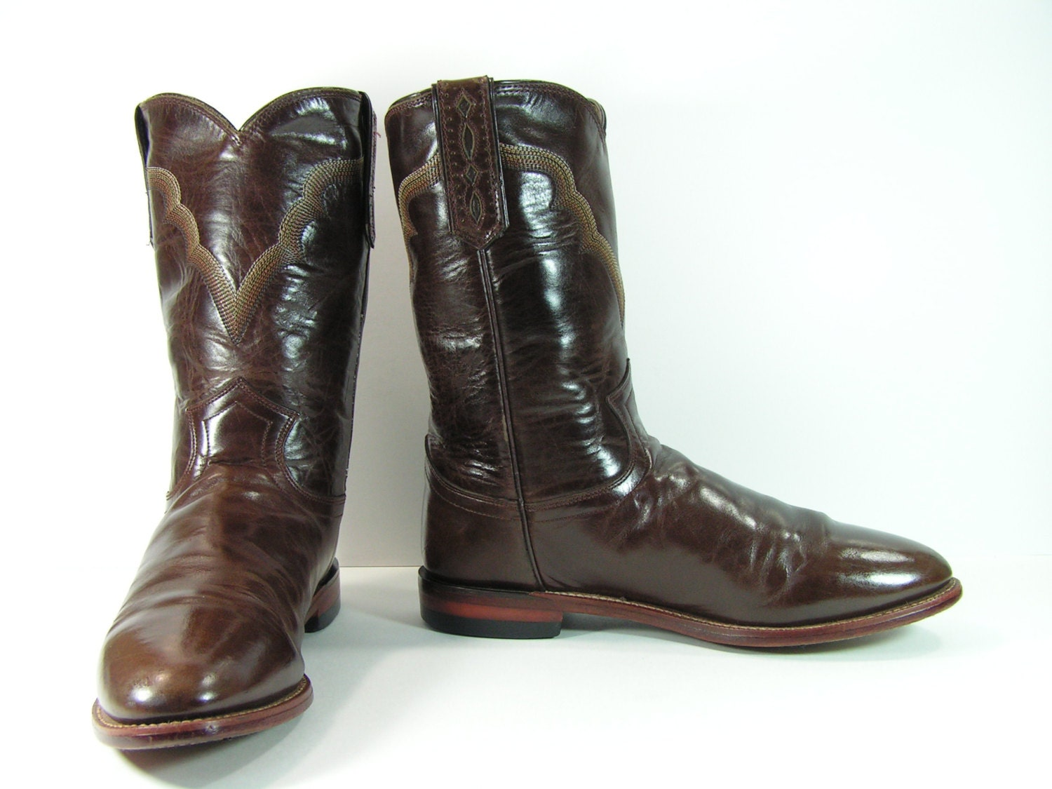justin roper cowboy boots womens 8 5 m b brown western leather