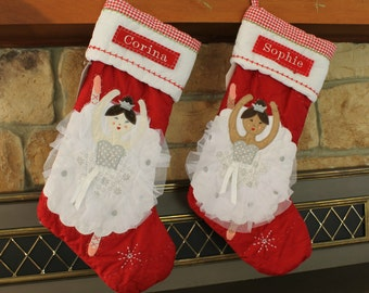 Ballerina Stocking Pottery Barn ---  Ballerina With Light Skin RED Quilted Stocking ---  Free Monogram